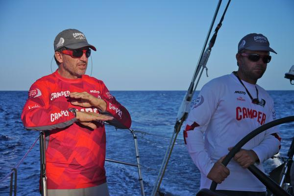 Will Oxley and Chris Nicholson ponder the tactical challenges  of Leg 6