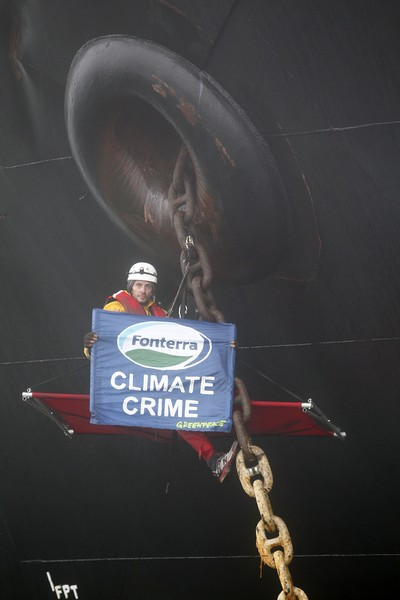 Greenpeace activists have this morning boarded a shipment of palm kernel to prevent it from being unloaded at Port Taranaki, New Plymouth.