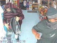 CCTV images of two men in connection to an aggravated robbery at the Thirsty Liquor bottle store in Upper Hutt.