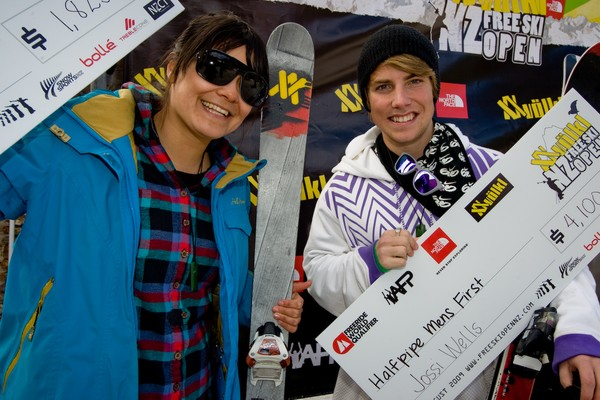 Women�s and Men�s halfpipe winners Janina Kuzma and Jossi Wells