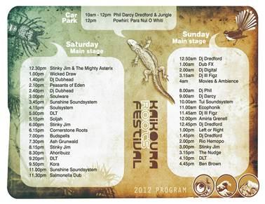 Kaikoura Roots Festival 2012 program