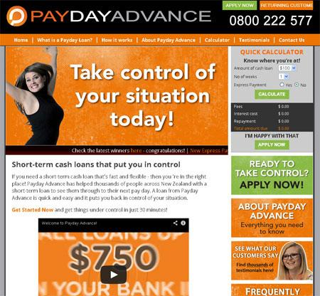 Redesigned Payday Advance Website