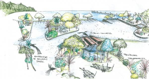 Artist's impression of Tolaga Bay Wharf car park.